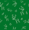 christmas seamless pattern with deer and holly vector image vector image