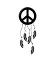 contour hippie emblem symbol with feathers design vector image vector image