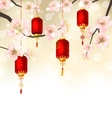 Cute Background with Sakura Blossom and Hanging vector image vector image