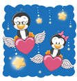cute lovers penguins vector image vector image