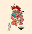 Demon playing a shamisen vector image vector image