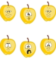 Emotion yellow apple set vector image vector image