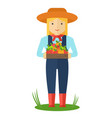 farmer woman with box of color apple vector image vector image