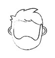 figure man head with closed eyes and hairstyle vector image vector image