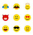 flat icon emoji set of hush happy cheerful and vector image vector image