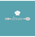 Fork spoon word menu and chef hat card Flat design vector image vector image