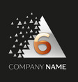 golden number six logo in silver pixel triangle vector image