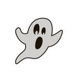 halloween ghost hand drawn flat line icon vector image vector image