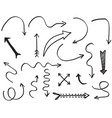 hand drawn arrows with doodle style isolated vector image vector image