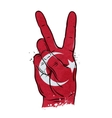 hand gesture of victory flag Turkey vector image vector image