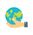 hand with global planet vector image