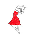 happy dancing girl line vector image