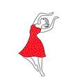 happy dancing girl line vector image vector image