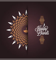 happy diwali vintage card design background vector image