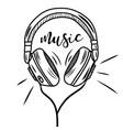 Headphones sketch hand drawing music bit