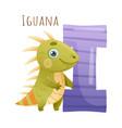 i letter and cute iguana baby animal zoo alphabet