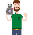 image of man with a video camera vector image vector image
