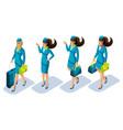 isometry stewardess girl go show beautiful vector image vector image
