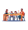 kids and parents at table enjoy dinner together vector image