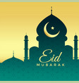 mosque silhouette on golden background for eid vector image vector image