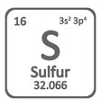 periodic table element surfur icon vector image vector image