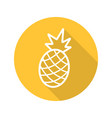 pineapple flat linear long shadow icon vector image vector image