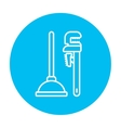 Pipe wrenches and plunger line icon vector image