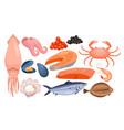 seafood restaurant gourmet menu set fresh vector image vector image