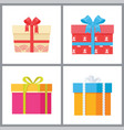 set of gift boxes with decorative wrapping paper vector image