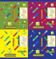 set of school pattern vector image