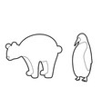 set outline antarctic animals silhouettes vector image vector image