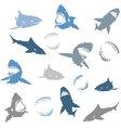 Sharks silhouettes seamless pattern Isolated blue vector image vector image