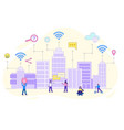 smart city with wireless and internet icons vector image
