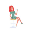 smiling redhead drunk young woman cartoon vector image
