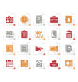 stylized business and office supplies icons vector image vector image