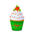 sweet christmas and new year cupcake with berries vector image vector image