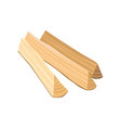 three triangle-shaped logs firewood for bonfire vector image vector image
