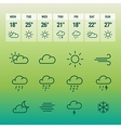 weather forcast line icons on green vector image vector image