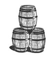 wine beer barrels engraving vector image vector image