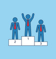 winner podium with three businessmans vector image vector image