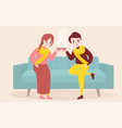 young couple having a cup of tea or coffee in vector image
