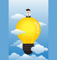 young man sitting meditation with light bulb vector image vector image