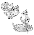 Zentangle sketch bird on nest Hand Drawn doodle vector image vector image