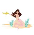 Beautiful mermaid and gold fish vector image