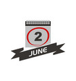 2 june calendar with ribbon vector image vector image