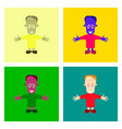 assembly flat halloween zombie men vector image vector image