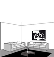 black and white living room vector image