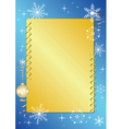 blue and golden frame with snowflakes vector image vector image