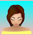 bright girl with closed eyes vector image vector image