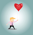Businessman chasing love vector image vector image